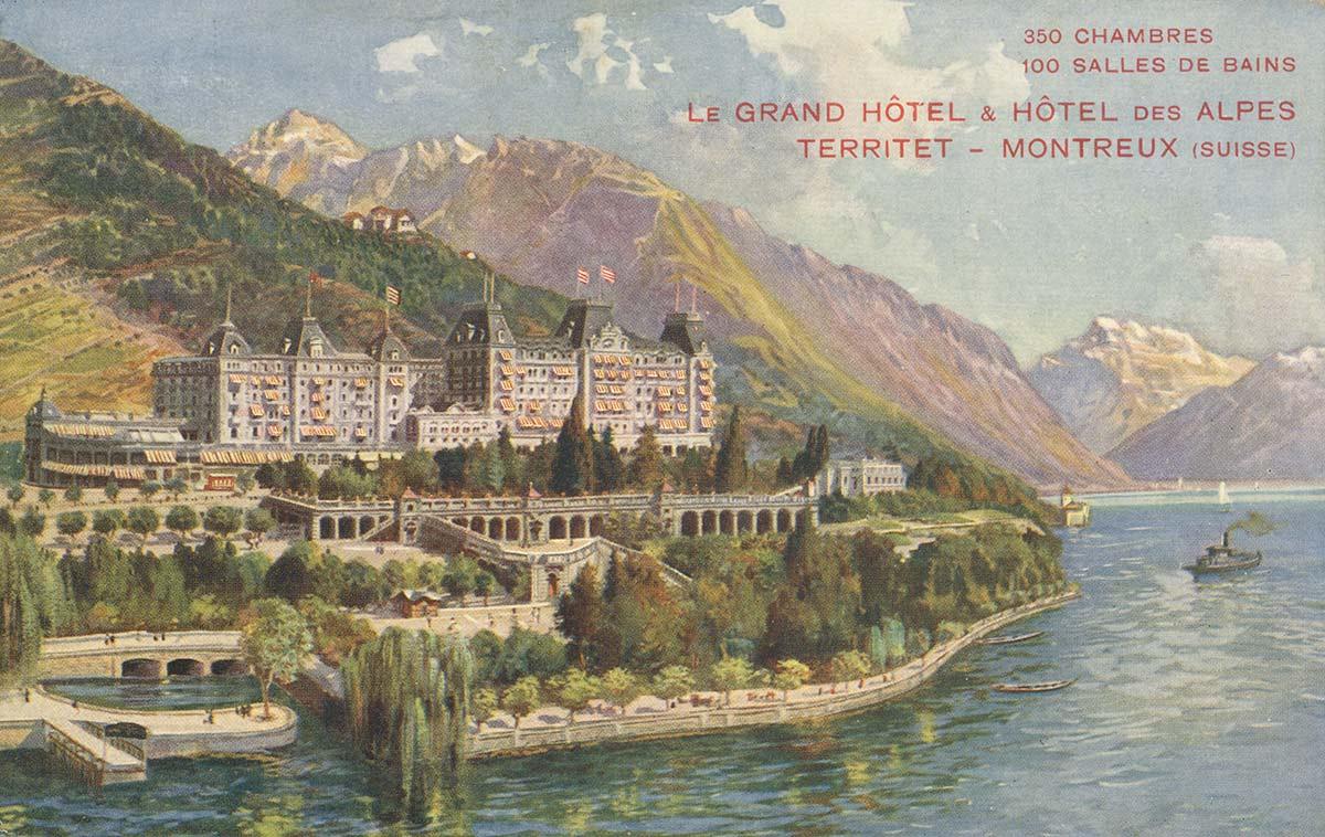 Carte postale. Le Grand Hôtel & Hôtel des Alpes, Territet - Montreux (Suisse)