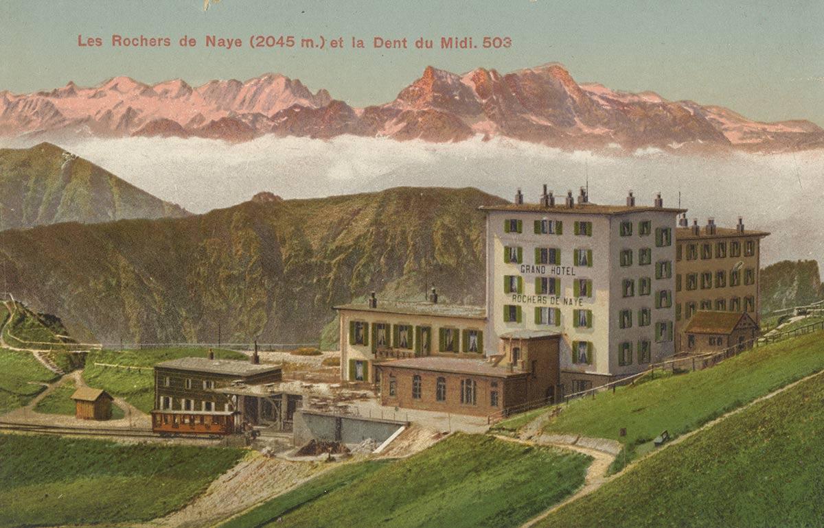 Carte postale. Les Rochers de Naye et la Dent du Midi