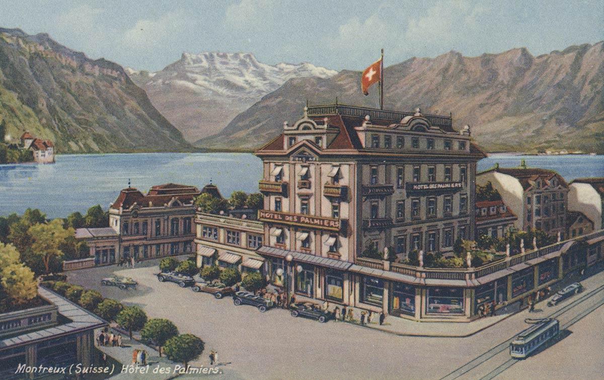 Carte postale. Montreux (Suisse). Hôtel des Palmiers