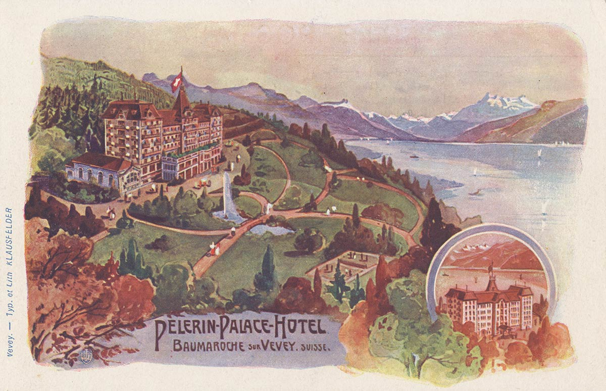 Carte postale. Pélerin - Palace - Hôtel, Baumaroche sur Vevey, Suisse