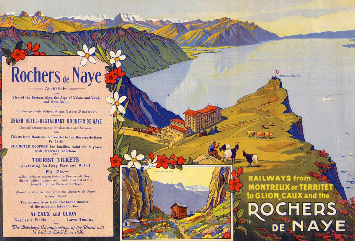 Dépliant touristique. Railways from Montreux or Territet to Glion, Caux and the Rochers de Naye