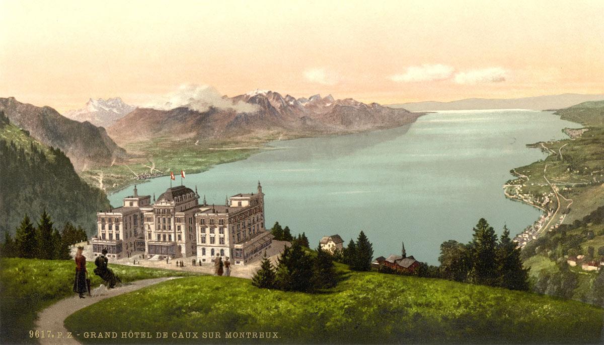Photochrome. Grand Hôtel de Caux sur Montreux