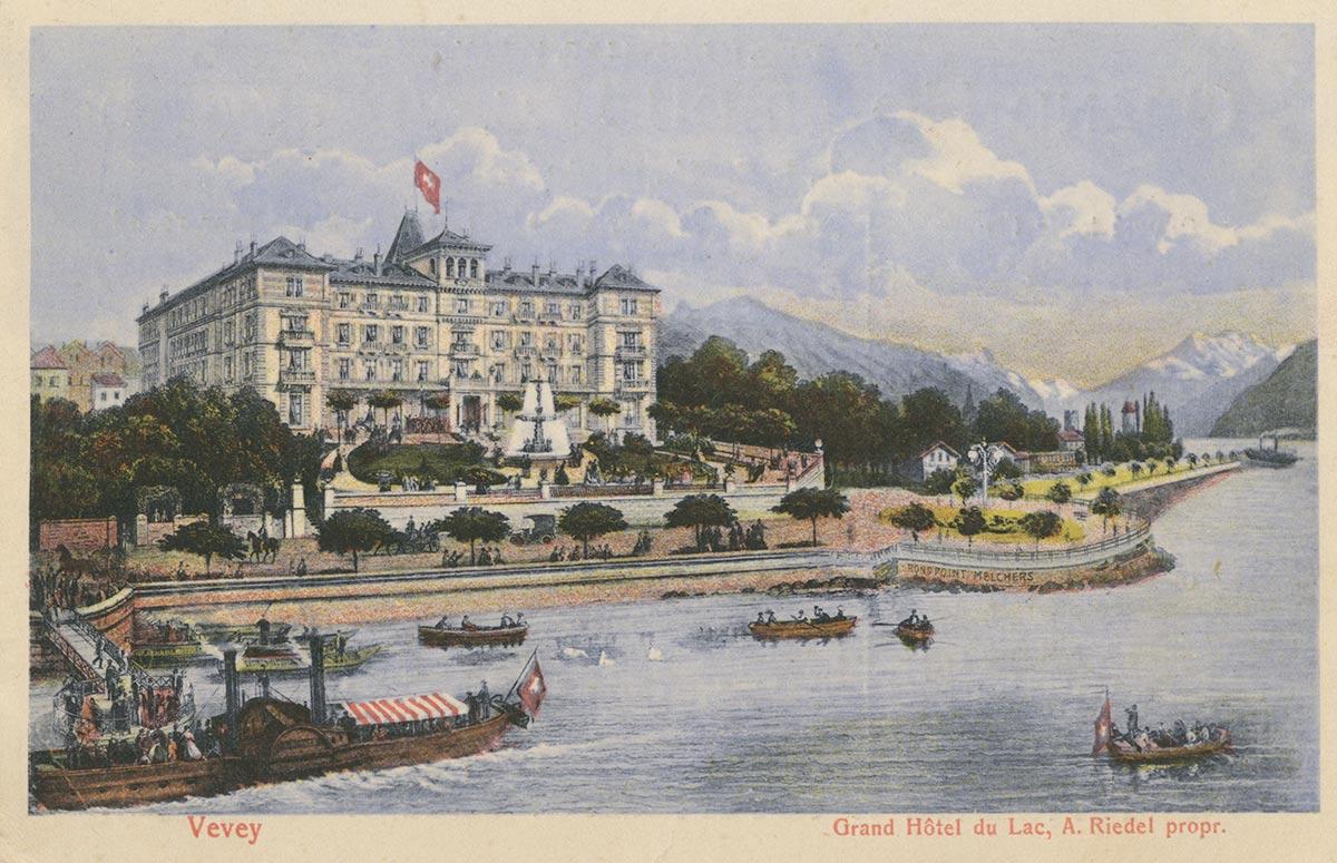 Carte postale. Vevey. Grand Hôtel du Lac, A. Riedel propr.