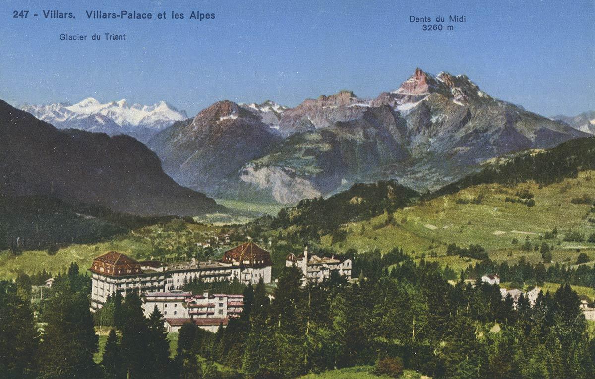 Carte postale. Villars. Villars-Palace et les Alpes