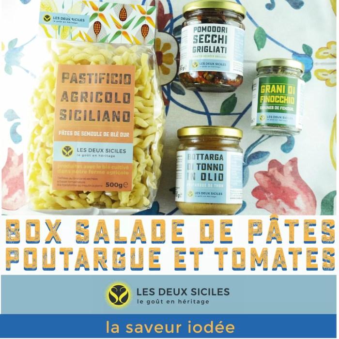 box salade de pâtes poutargue et tomates