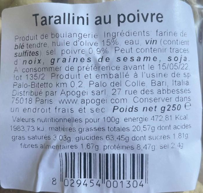 Ingrédients taralli poivre