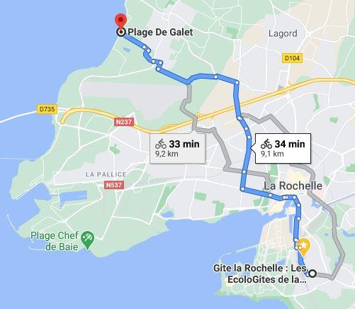 plan pour la plage de l'Houmeau au nord de la Rochelle