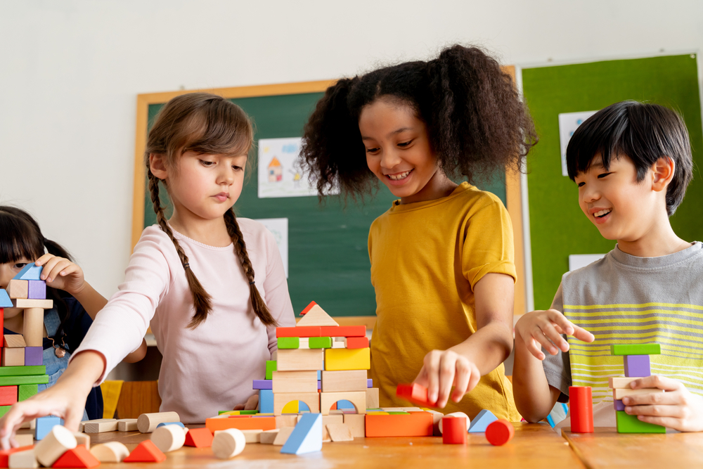 diverse group of children playing together