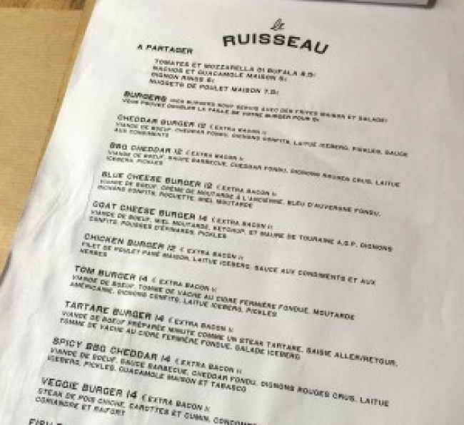 menu burger paris