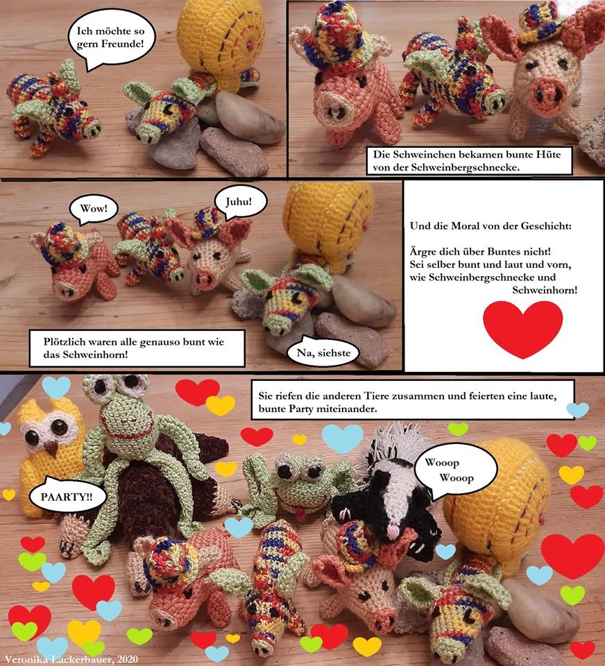 Weitere Häkel-Comics: Das Schweinhorn und Froschi