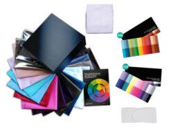 Mon kit complet de test de colorimétrie avec tous les foulards et les nuanciers
