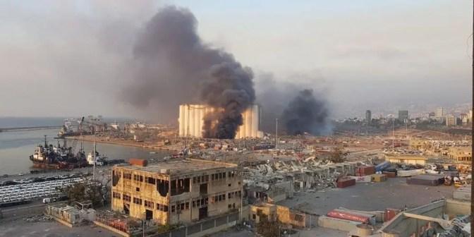 Première image de la double explosion sur le port de Beyrouth
