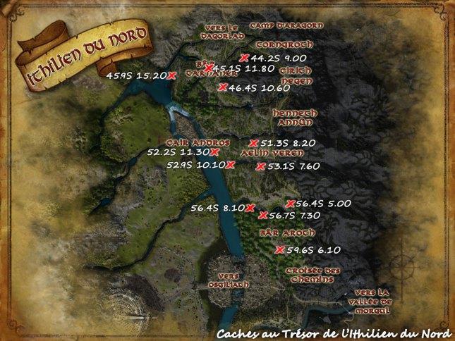 Carte des caches au tresor de l'Ithilien du Nord