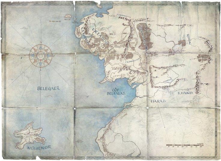 Carte Terre du Milieu, Série Amazon