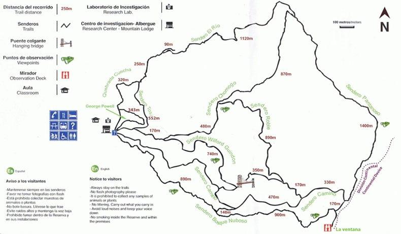 Chemins de randonnées de la réserve de monteverde