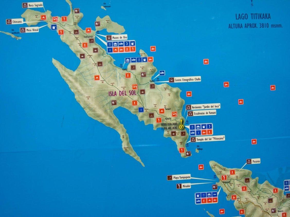 la carte touristique de l'isla del sol et ses points d'intérêt