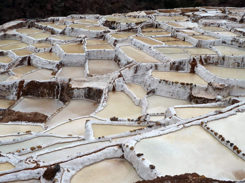 Vue des salineras à l'époque de la récolte de sel - Photo licence Creative commons - Auteur Pululante (flikr)