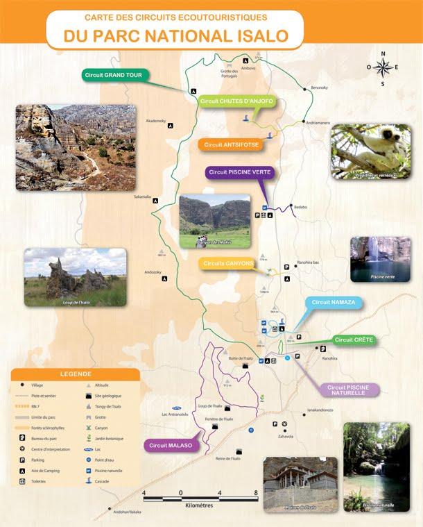 carte du parc national d'isalo - circuits de randonnée
