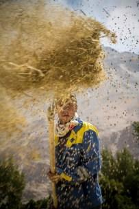 Farid, agriculteur d'origine wakhi, sépare le bon grain de l'ivraie. Dans le village de Namadgut, près d'Ishkashim, la quasi totalité des récoltes est triée manuellement. Farid parle parfaitement l'Italien. Tadjikistan