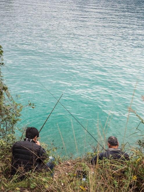 Sun moon lake pêcheurs