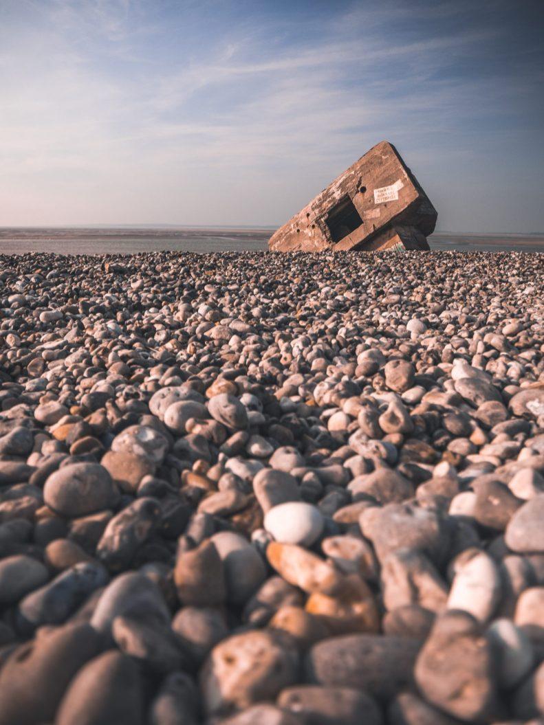 Blockhaus de la plage du Hourdel dans la baie de Somme