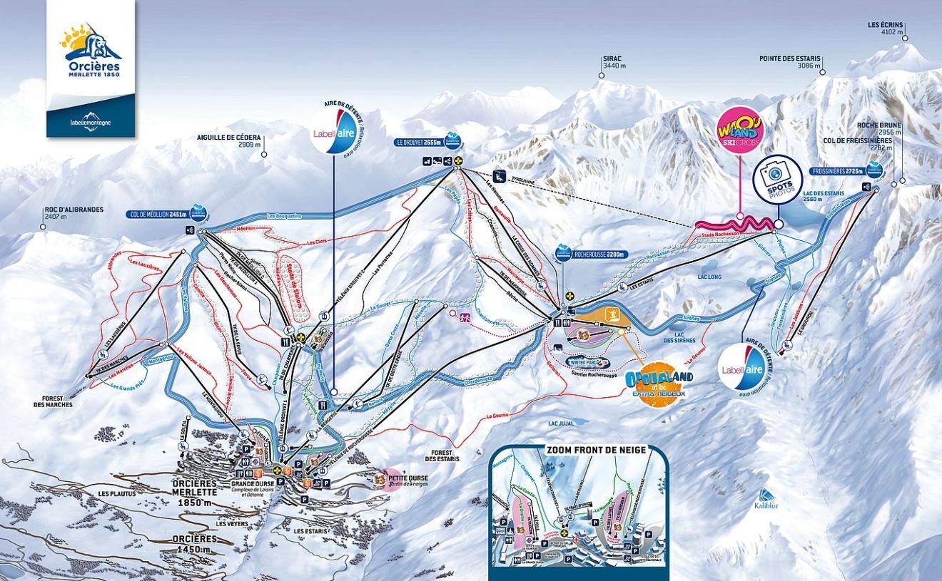 plan des pistes de ski d'orcières merlette 1850 - domaine skiable