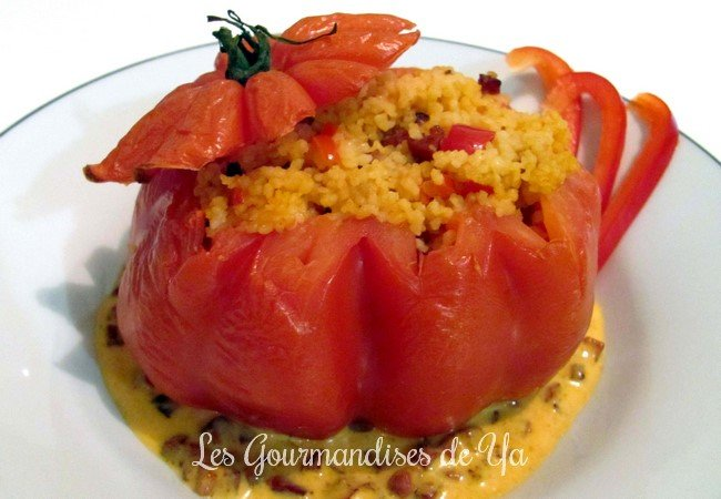 Tomate farcie : semoule, poivron et chorizo LGY