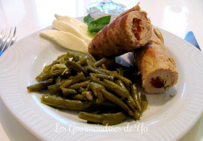 Saltimbocca de veau : mozzarella, tomates séchées et basilic et ses haricots verts à l'ail LGY