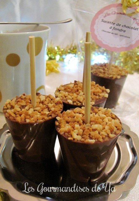 Sucette à fondre au chocolat au lait, noir - praliné LGY