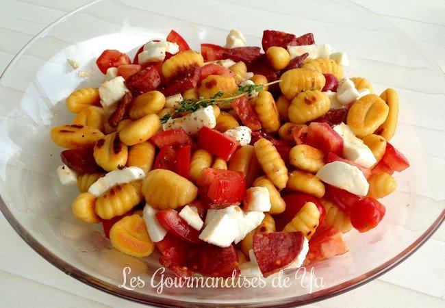Salade tiède de gnocchis au chorizo LGY
