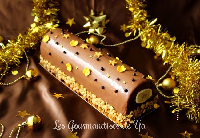 Bûche banane, cacahuète et chocolat LGY
