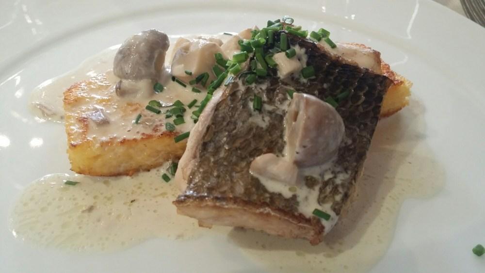 Filet de maigre, polenta croustillante, crème aux cèpes et champignons des bois.
