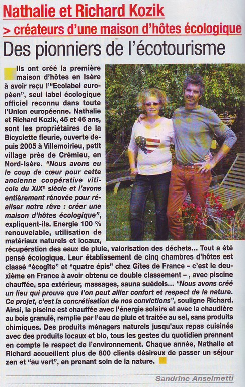La Bicyclette Fleurie - Nathalie et Richard (Isère Magazine 07 2015)