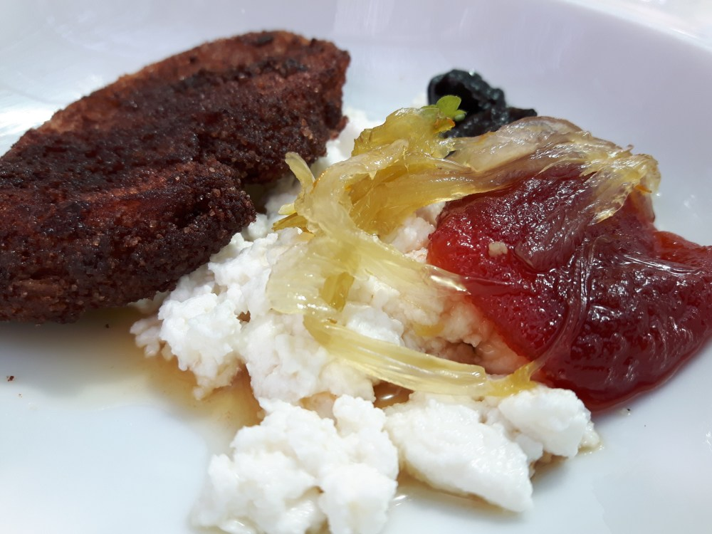 Brousse de fromage de chèvre frais...fruits et légumes confits (fenouil, tomate....).