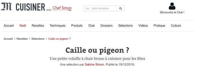 Caille ou pigeon? avec Chef Simon - Le Monde