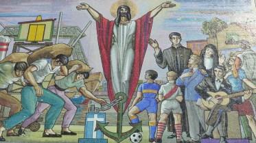 Mosaïque sur la façade d'une église à La Boca