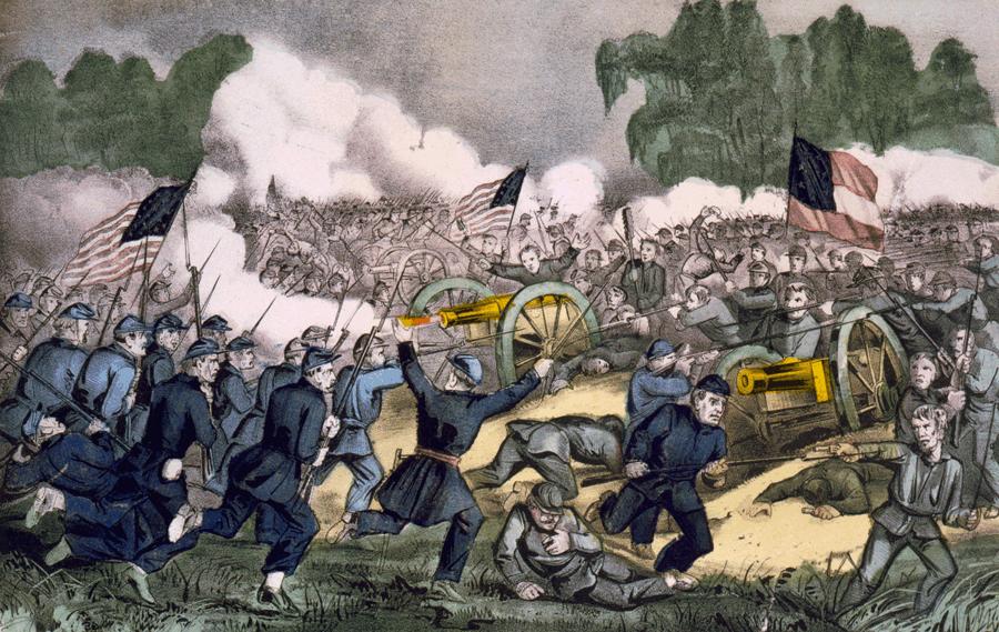 Lithographie colorée de La bataille de Gettysburg, par Currier et Ives.