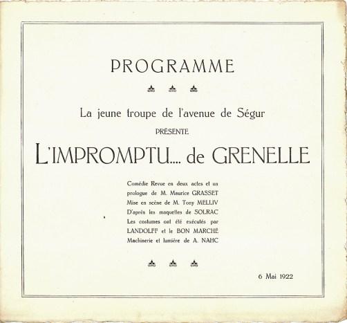 1922 L'Impromptu de Grenelle - Programme p1_wp