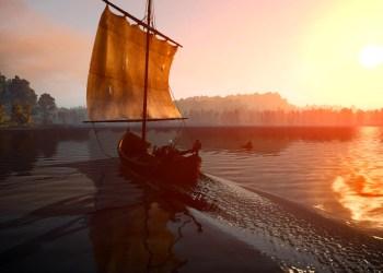 Геральт в лодке. Ведьмак 3: Дикая охота (The Witcher 3: Wild Hunt)