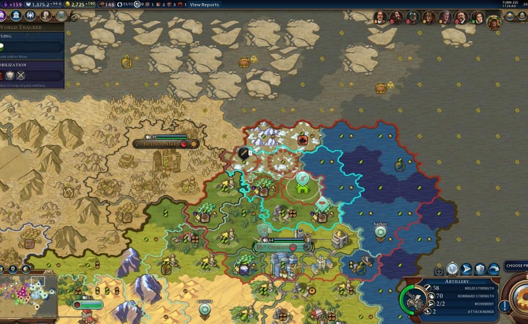 Civilization 6 — Артилерия рядом с воздушным шаром