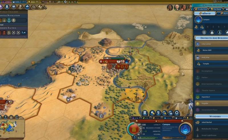 Civilization VI — Gathering Storm — Очередь строительства в городе