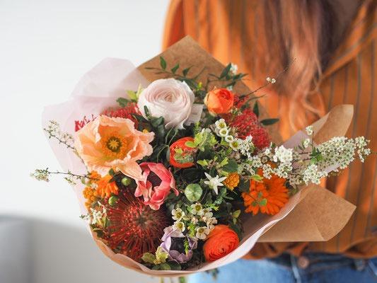 bouquet moyen fleurs fraiches les herbes sauvages fleuriste rennes abonnement subscription papier cadeau