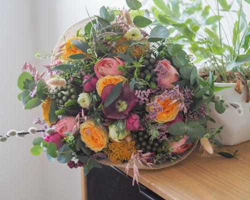 bouquet moyen abonnement les herbes sauvages fleurs fraiches roses orange feuille plante déco rennes