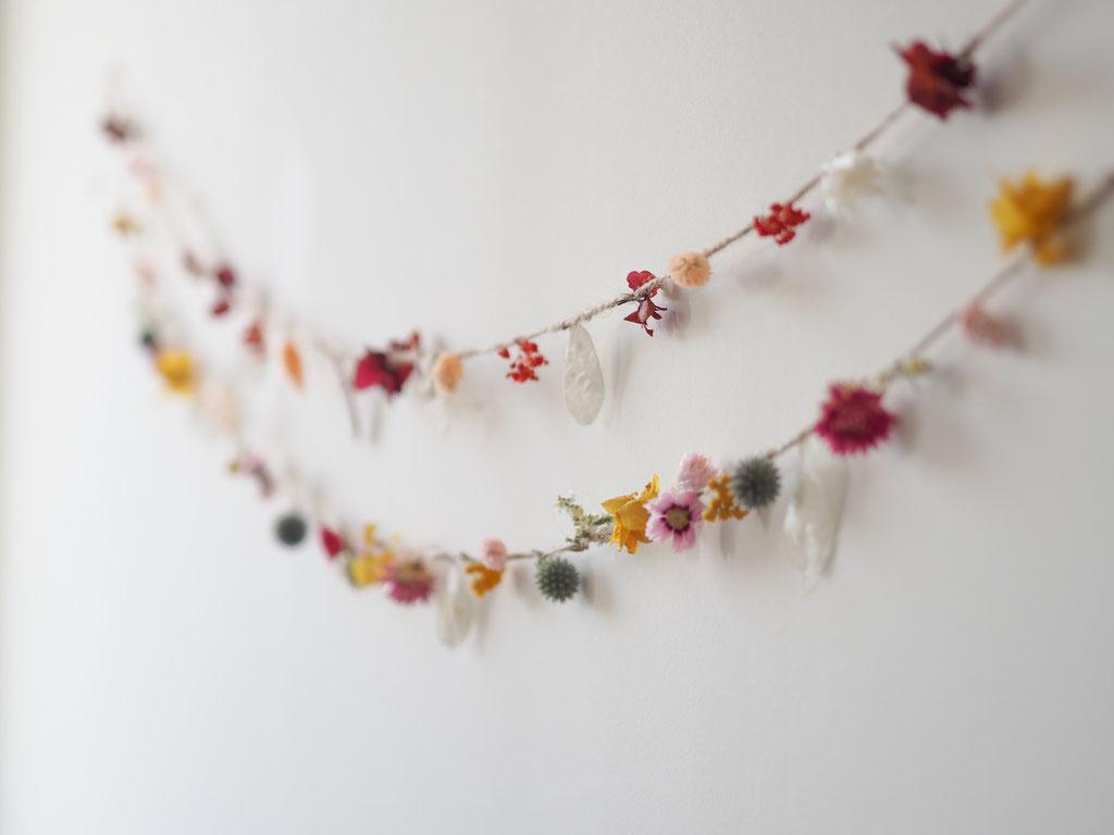 guirlande article boutique fleurs sechees deco decoration murale corde les herbes sauvages rennes fleuriste