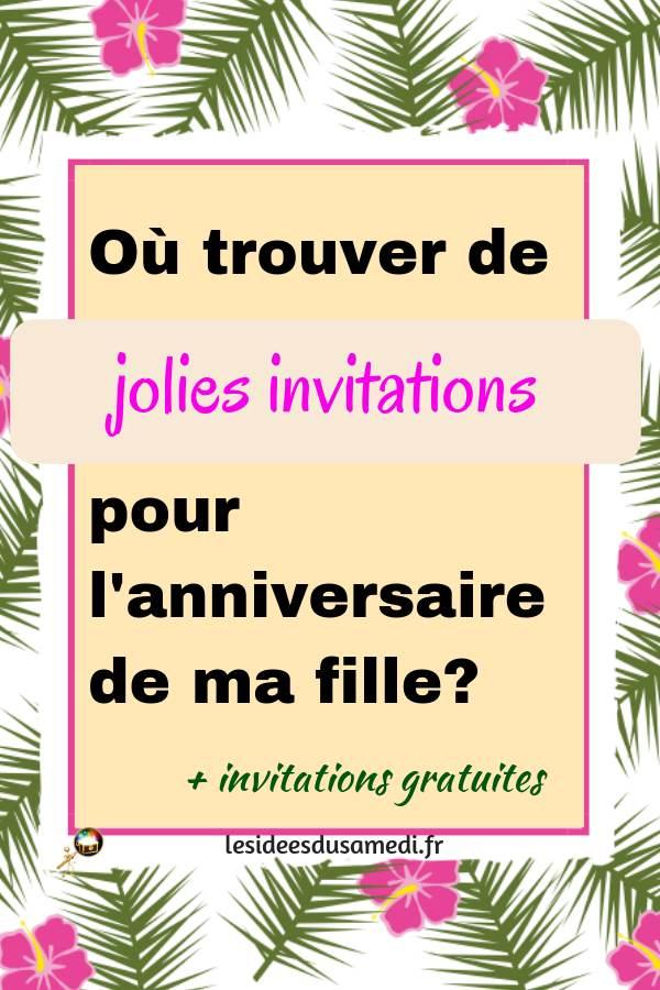 invitations anniversaire petite fille