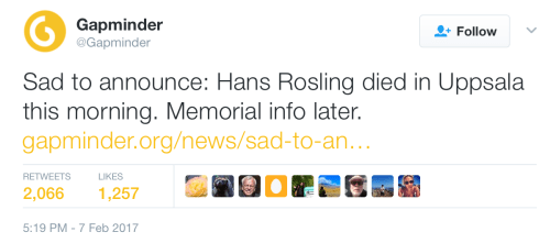 Sad to announce: Hans Rosling died in Uppsala this morning.