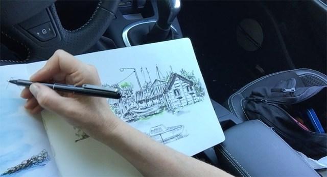 en-train-dessiner-dans-voiture