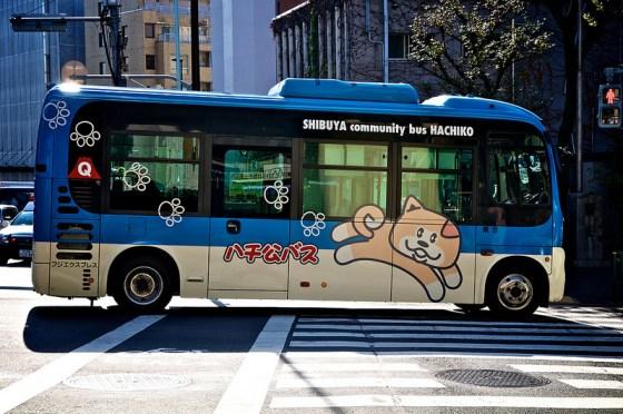 "Bus ""Hachiko"", ligne à Shibuya."