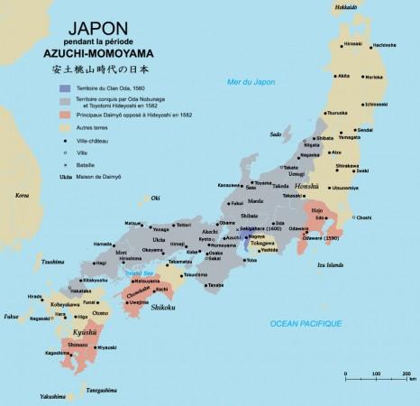 Conquête du clan Oda entre 1560 et 1582.