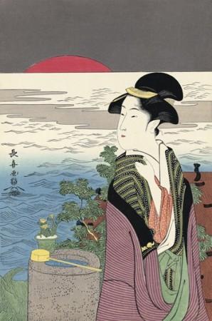 -Lady and the setting sun- Eishôsai
